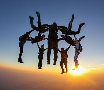 Sunset hybrid skydive over Skydive Spaceland-Florida