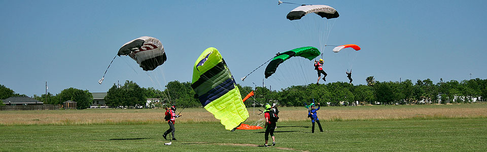 Busy skydiving landing area