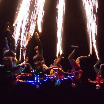 Night skydive with pyrotechnics