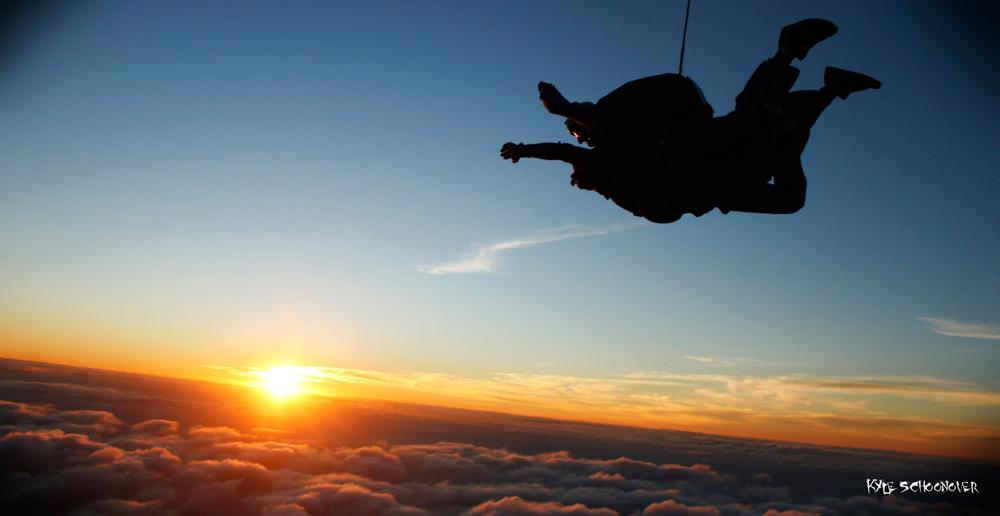 Tandem skydive at sunset